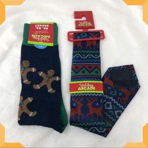 Men's Holiday Sock and Tie bundle set Christmas